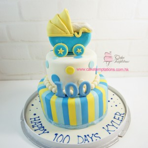 100 days 2 layers baby carriage cake