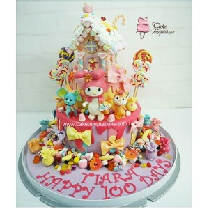 2 Tiers My Melody & Candy House Cake
