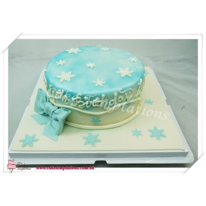 Snow Cake with Beautiful Ice Crystal Decoration