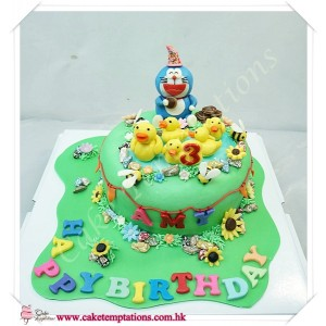 Doraemon Playing In The Park Cake